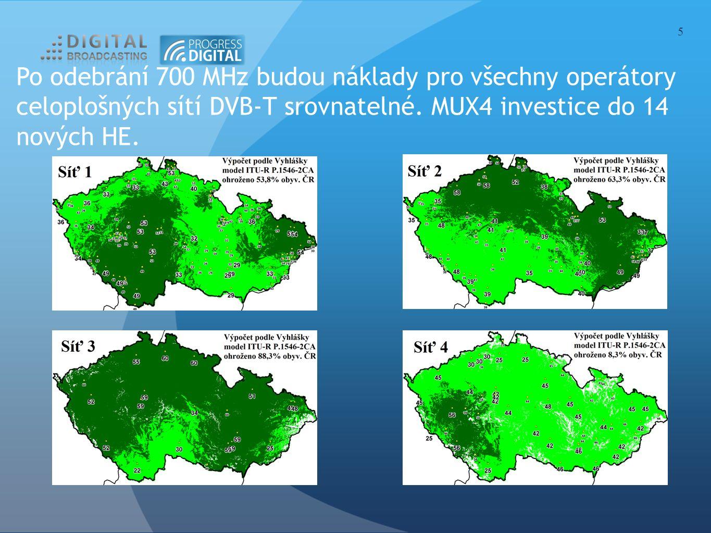 Po odebrání 700 MHz budou náklady pro všechny operátory celoplošných sítí DVB-T srovnatelné. MUX4 investice do 14 nových HE. 5