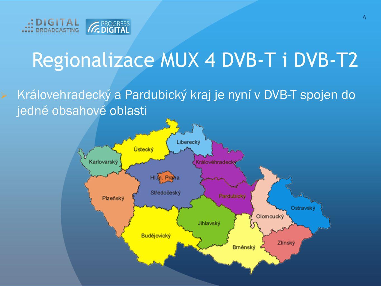 Regionalizace MUX 4 DVB-T i DVB-T2  Královehradecký a Pardubický kraj je nyní v DVB-T spojen do jedné obsahové oblasti 6