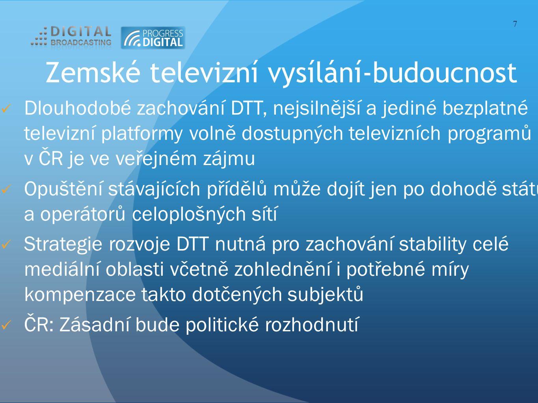 Zemské televizní vysílání-budoucnost Dlouhodobé zachování DTT, nejsilnější a jediné bezplatné televizní platformy volně dostupných televizních programů v ČR je ve veřejném zájmu Opuštění stávajících přídělů může dojít jen po dohodě státu a operátorů celoplošných sítí Strategie rozvoje DTT nutná pro zachování stability celé mediální oblasti včetně zohlednění i potřebné míry kompenzace takto dotčených subjektů ČR: Zásadní bude politické rozhodnutí 7