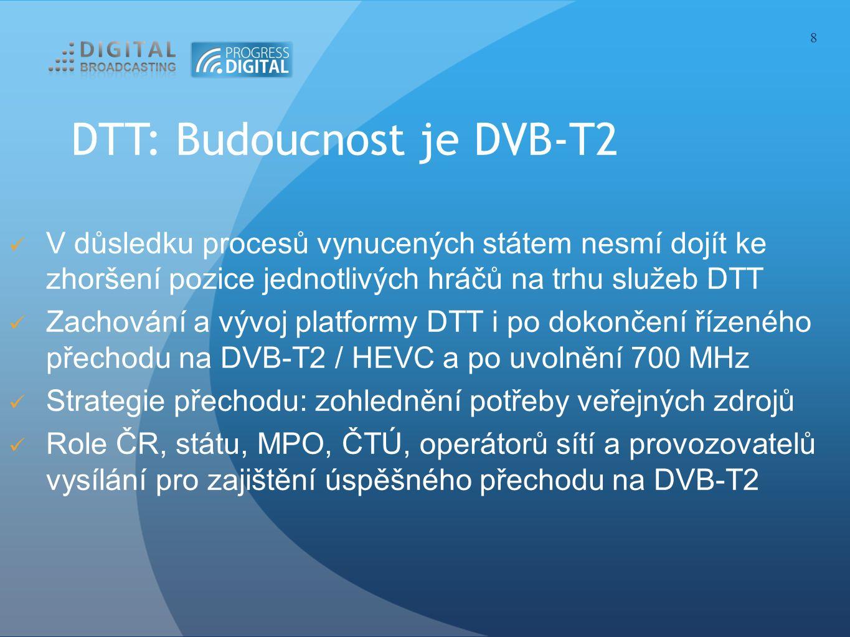 DTT: Budoucnost je DVB-T2 V důsledku procesů vynucených státem nesmí dojít ke zhoršení pozice jednotlivých hráčů na trhu služeb DTT Zachování a vývoj platformy DTT i po dokončení řízeného přechodu na DVB-T2 / HEVC a po uvolnění 700 MHz Strategie přechodu: zohlednění potřeby veřejných zdrojů Role ČR, státu, MPO, ČTÚ, operátorů sítí a provozovatelů vysílání pro zajištění úspěšného přechodu na DVB-T2 8