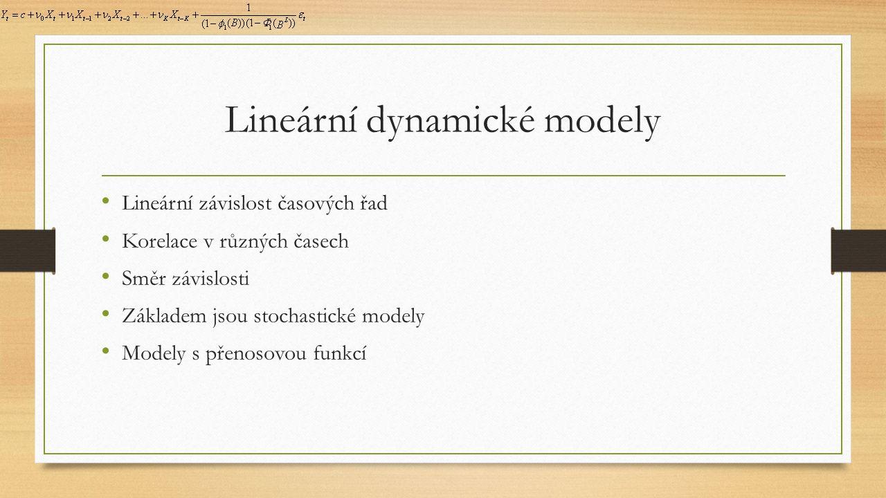 Lineární dynamické modely Lineární závislost časových řad Korelace v různých časech Směr závislosti Základem jsou stochastické modely Modely s přenosovou funkcí