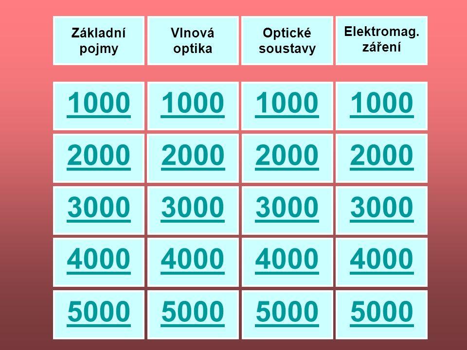 100 200 3000 100 100 300 200 300 300 200 100 200 500 500 500 500 400 400 400 400 Základní pojmy Vlnová optika Optické soustavy Elektromag.