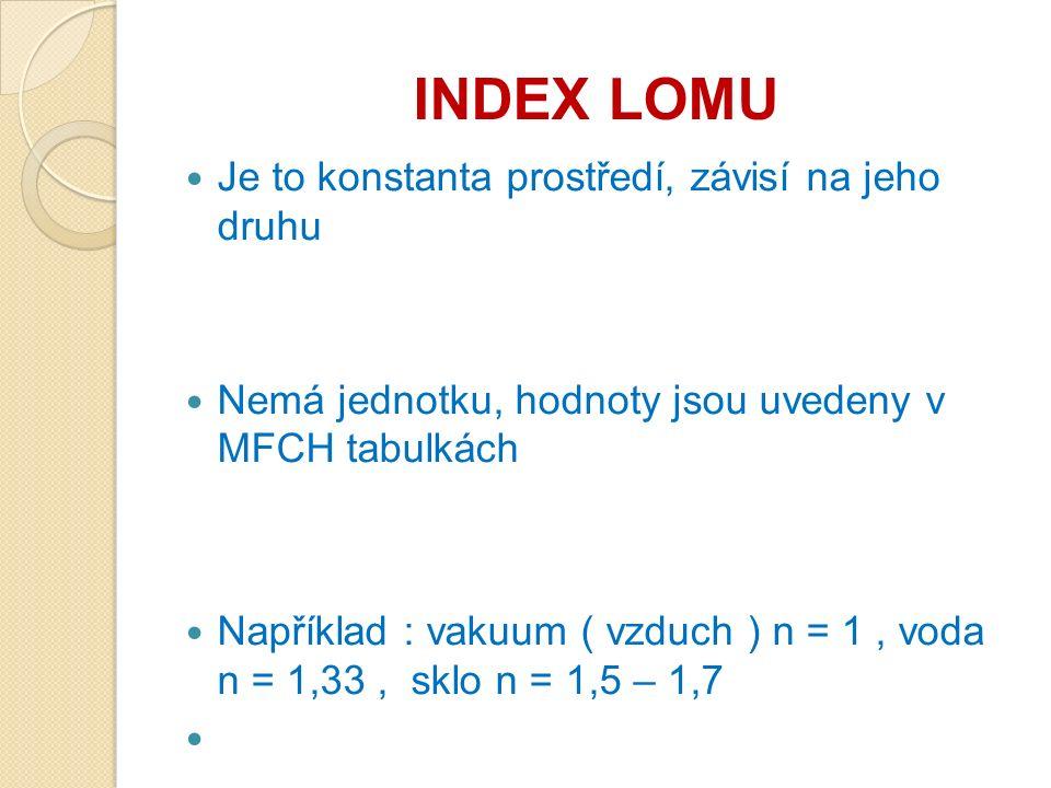 INDEX LOMU Je to konstanta prostředí, závisí na jeho druhu Nemá jednotku, hodnoty jsou uvedeny v MFCH tabulkách Například : vakuum ( vzduch ) n = 1, v