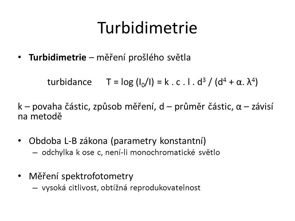Turbidimetrie Turbidimetrie – měření prošlého světla turbidanceT = log (I 0 /I) = k. c. l. d 3 / (d 4 + α. λ 4 ) k – povaha částic, způsob měření, d –