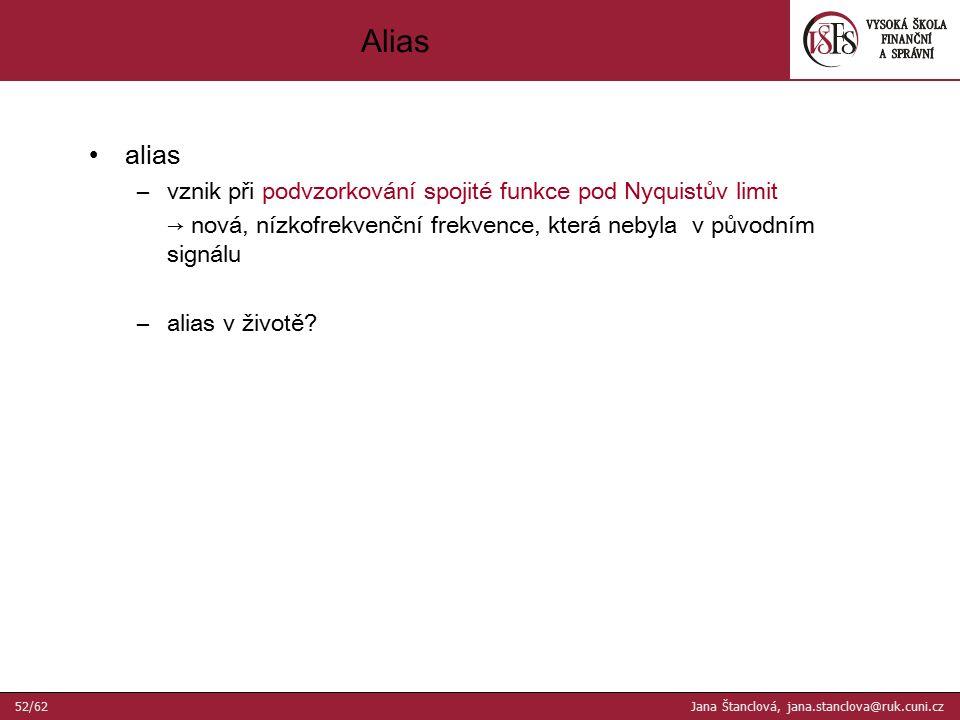 alias –vznik při podvzorkování spojité funkce pod Nyquistův limit → nová, nízkofrekvenční frekvence, která nebyla v původním signálu –alias v životě.