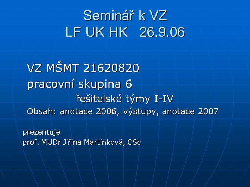 Seminář k VZ LF UK HK 26.9.06 VZ MŠMT 21620820 VZ MŠMT 21620820 pracovní skupina 6 pracovní skupina 6 řešitelské týmy I-IV řešitelské týmy I-IV Obsah: anotace 2006, výstupy, anotace 2007 Obsah: anotace 2006, výstupy, anotace 2007 prezentuje prezentuje prof.