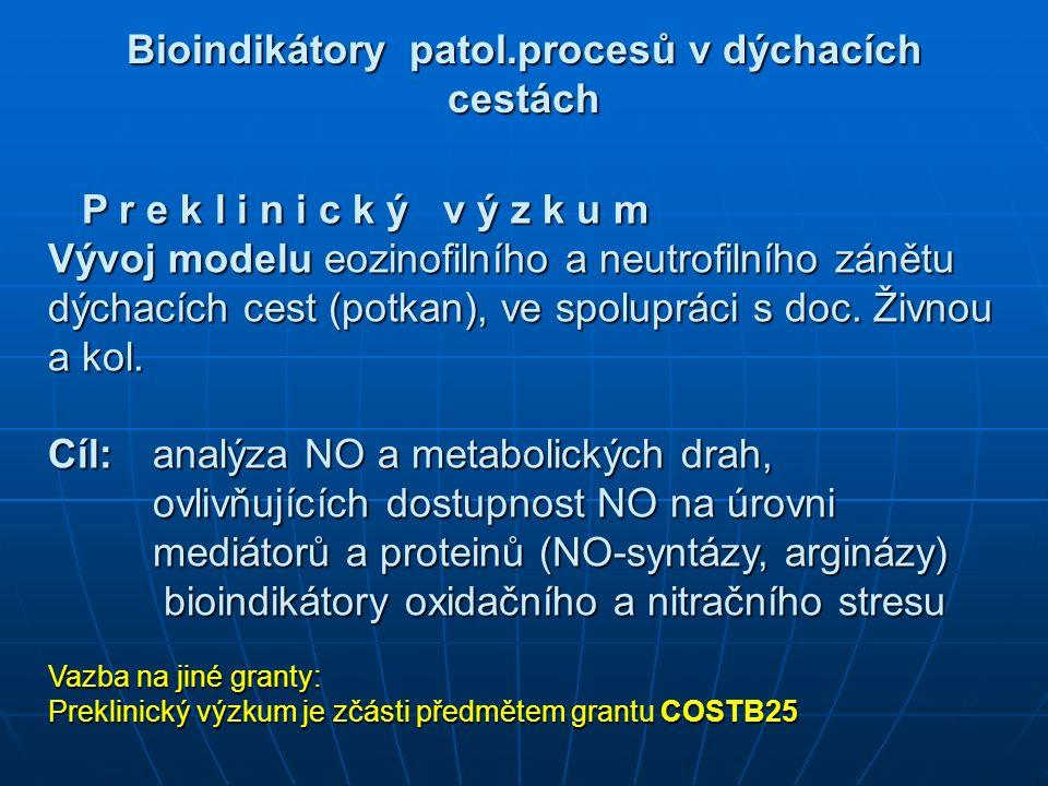 Bioindikátory patol.procesů v dýchacích cestách P r e k l i n i c k ý v ý z k u m P r e k l i n i c k ý v ý z k u m Vývoj modelu eozinofilního a neutrofilního zánětu dýchacích cest (potkan), ve spolupráci s doc.