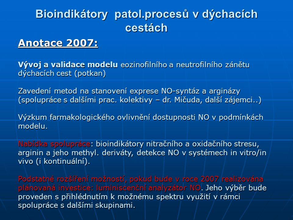 Bioindikátory patol.procesů v dýchacích cestách Anotace 2007: Vývoj a validace modelu eozinofilního a neutrofilního zánětu dýchacích cest (potkan) Zavedení metod na stanovení exprese NO-syntáz a arginázy (spolupráce s dalšími prac.