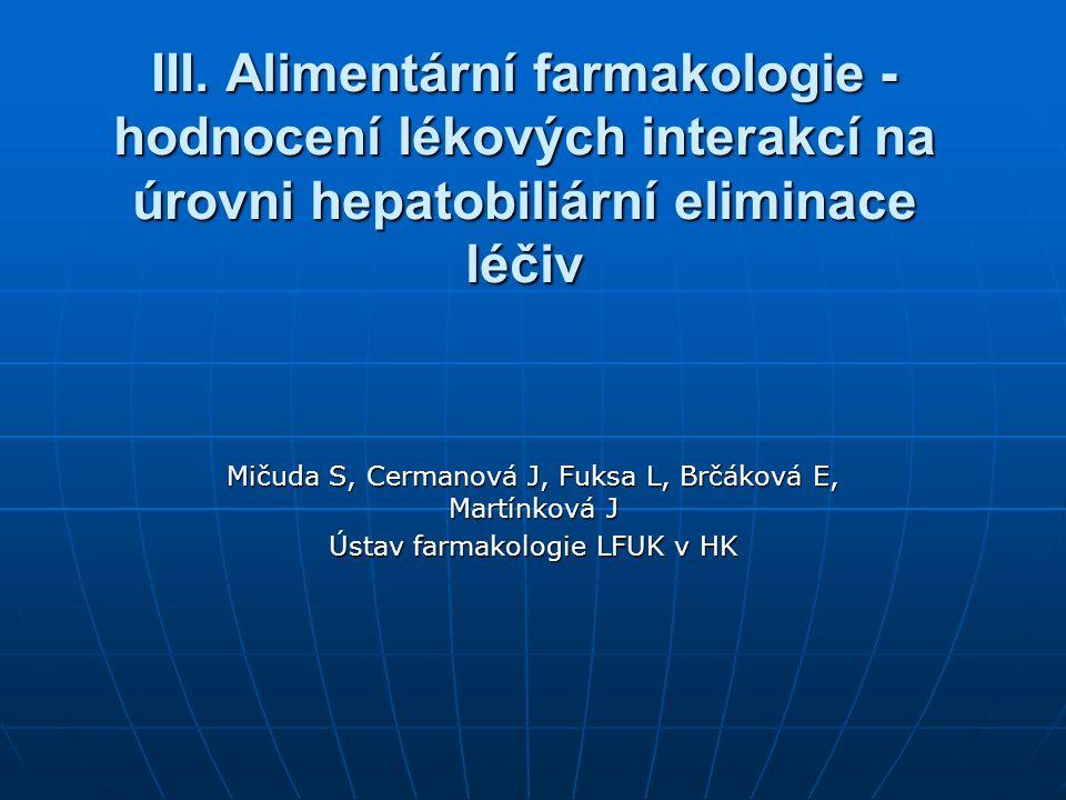 III. Alimentární farmakologie - hodnocení lékových interakcí na úrovni hepatobiliární eliminace léčiv Mičuda S, Cermanová J, Fuksa L, Brčáková E, Mart