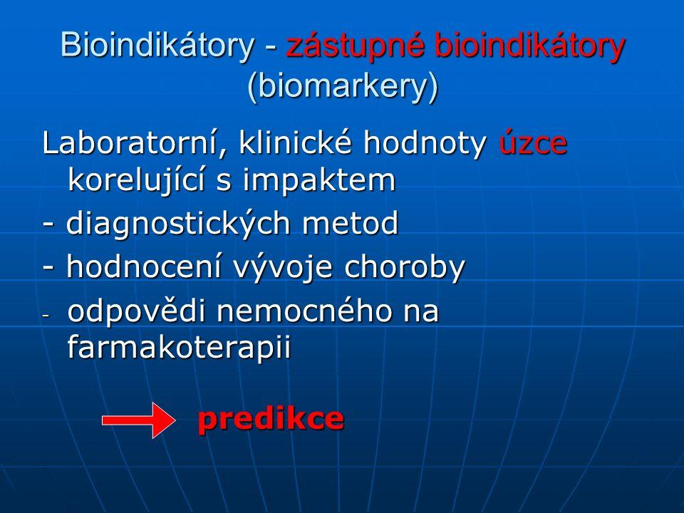 Bioindikátory - zástupné bioindikátory (biomarkery) Laboratorní, klinické hodnoty úzce korelující s impaktem - diagnostických metod - hodnocení vývoje choroby - odpovědi nemocného na farmakoterapii predikce