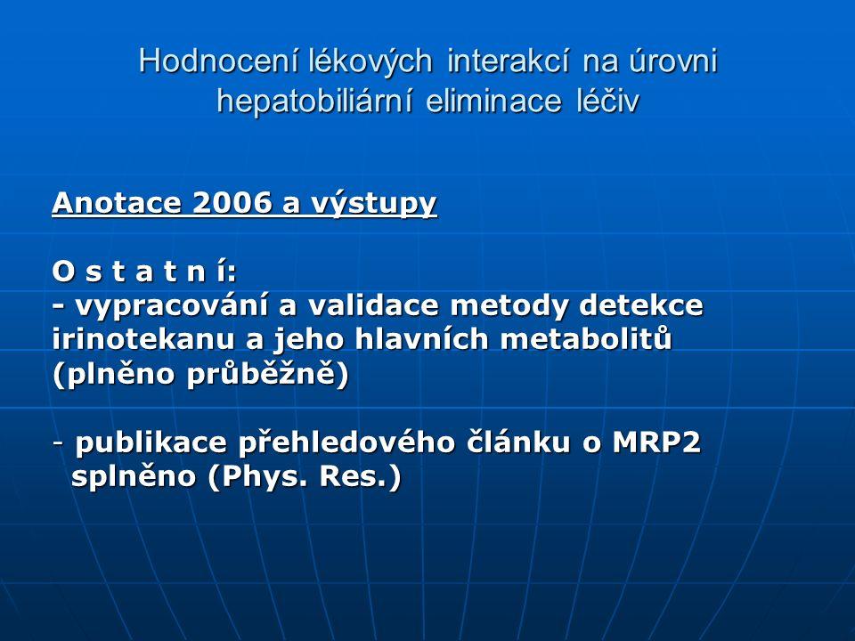 Hodnocení lékových interakcí na úrovni hepatobiliární eliminace léčiv Anotace 2006 a výstupy O s t a t n í: - vypracování a validace metody detekce irinotekanu a jeho hlavních metabolitů (plněno průběžně) - publikace přehledového článku o MRP2 splněno (Phys.