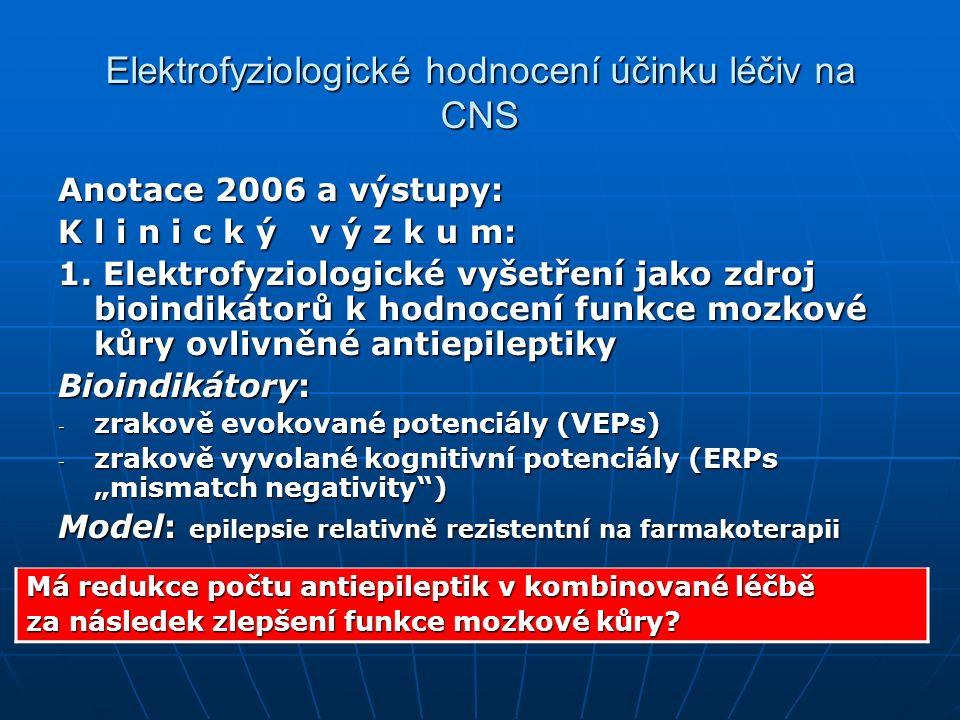 Anotace 2006 a výstupy: K l i n i c k ý v ý z k u m: 1.