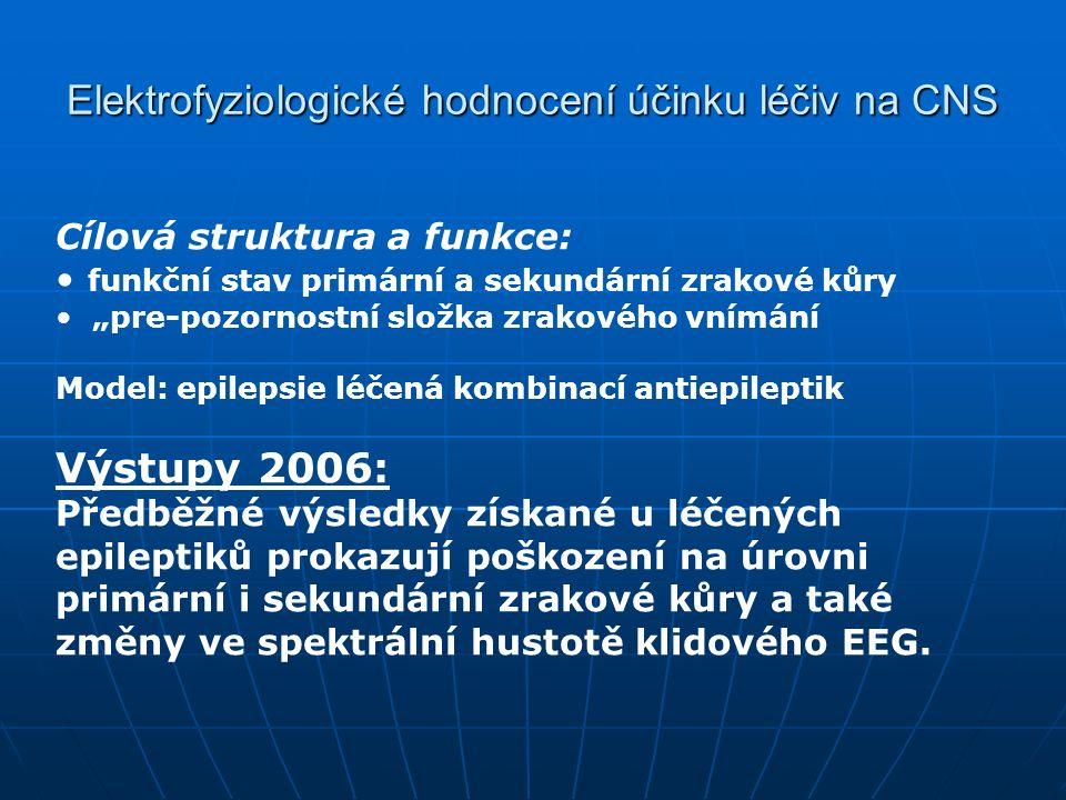 """Elektrofyziologické hodnocení účinku léčiv na CNS Cílová struktura a funkce: funkční stav primární a sekundární zrakové kůry """"pre-pozornostní složka zrakového vnímání Model: epilepsie léčená kombinací antiepileptik Výstupy 2006: Předběžné výsledky získané u léčených epileptiků prokazují poškození na úrovni primární i sekundární zrakové kůry a také změny ve spektrální hustotě klidového EEG."""