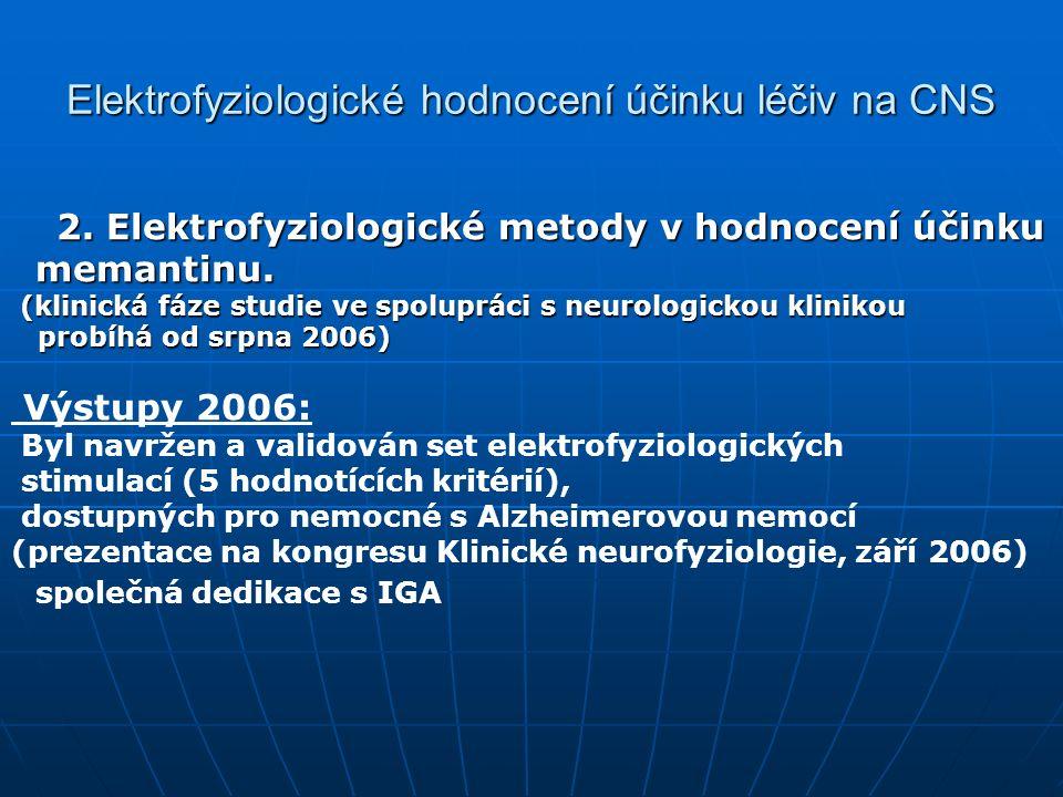 Elektrofyziologické hodnocení účinku léčiv na CNS 2.