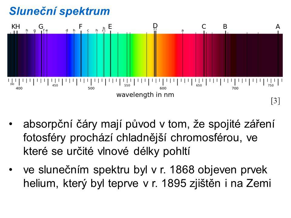 Sluneční spektrum [3] absorpční čáry mají původ v tom, že spojité záření fotosféry prochází chladnější chromosférou, ve které se určité vlnové délky p
