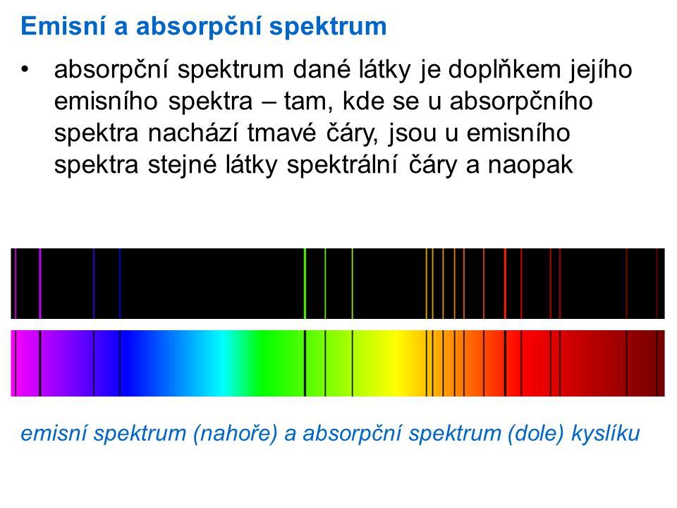 Emisní a absorpční spektrum absorpční spektrum dané látky je doplňkem jejího emisního spektra – tam, kde se u absorpčního spektra nachází tmavé čáry,