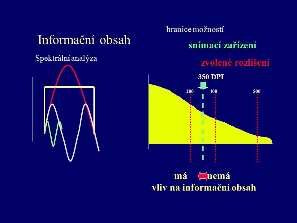 Informační obsah Spektrální analýza hranice možností má nemá má nemá vliv na informační obsah vliv na informační obsah snímací zařízení zvolené rozlišení 200 400 800 350 DPI