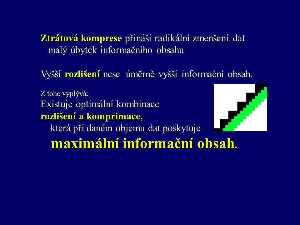 Ztrátová komprese přináší radikální zmenšení dat malý úbytek informačního obsahu Vyšší rozlišení nese úměrně vyšší informační obsah.
