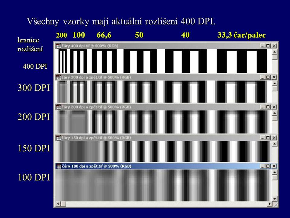 Všechny vzorky mají aktuální rozlišení 400 DPI. 200 100 66,6 50 40 33,3 čar/palec hranicerozlišení 400 DPI 400 DPI 300 DPI 200 DPI 150 DPI 100 DPI