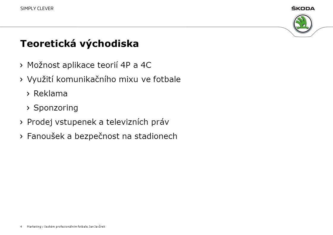 CRM = vztahový marketing Vysvětlení pojmů Pojem customer relationship marketing budování dlouhodobých hodnotných vztahů se zákazníky, propojenost ekonomická i společenská Marketingová síť databáze aktivních a pravidelně servisovaných kontaktů Customer relationship management řízení vztahů s jednotlivými zákazníky Věrnostní programy odměna pro věrné zákazníky Marketing v českém profesionálním fotbale, Jan Javůrek5