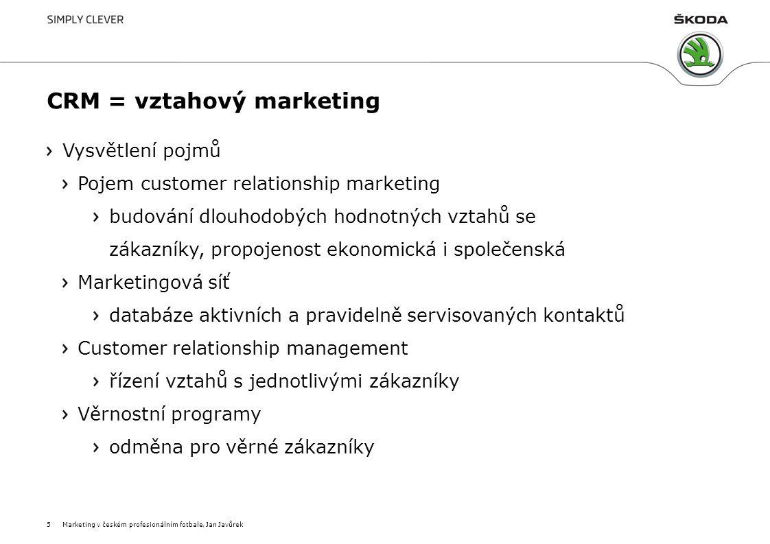 CRM = vztahový marketing Vysvětlení pojmů Pojem customer relationship marketing budování dlouhodobých hodnotných vztahů se zákazníky, propojenost ekon