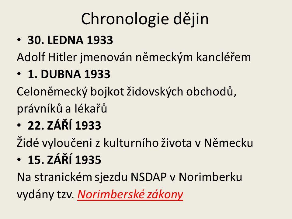 Chronologie dějin 30. LEDNA 1933 Adolf Hitler jmenován německým kancléřem 1.