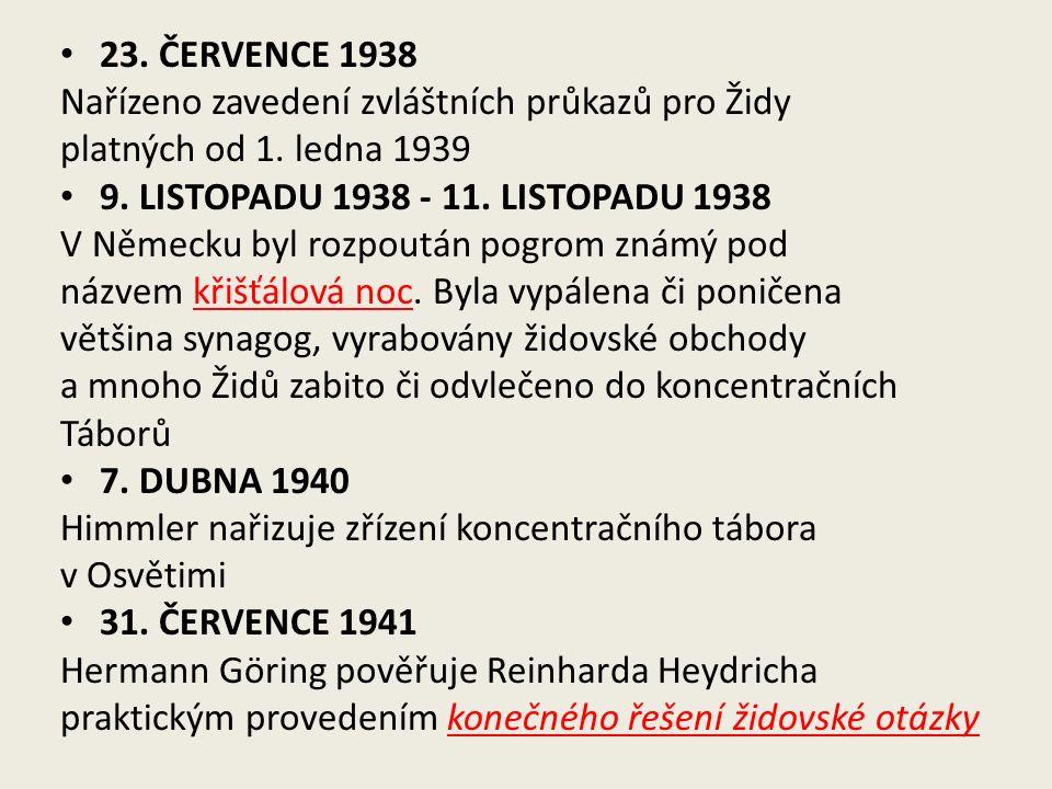 23. ČERVENCE 1938 Nařízeno zavedení zvláštních průkazů pro Židy platných od 1.
