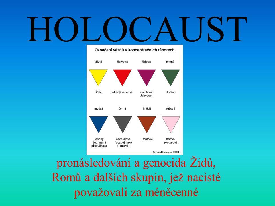 HOLOCAUST pronásledování a genocida Židů, Romů a dalších skupin, jež nacisté považovali za méněcenné