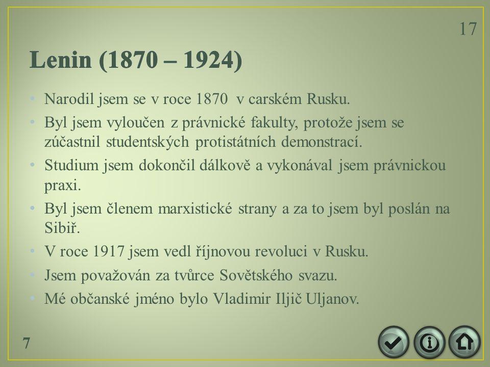 Narodil jsem se v roce 1870 v carském Rusku.