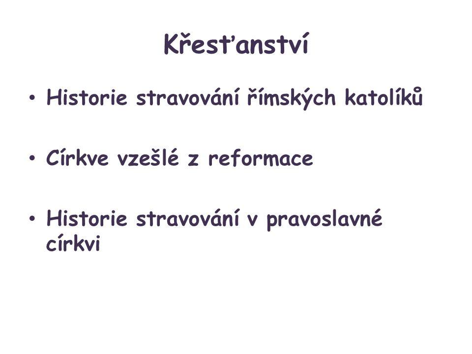Křesťanství Historie stravování římských katolíků Církve vzešlé z reformace Historie stravování v pravoslavné církvi