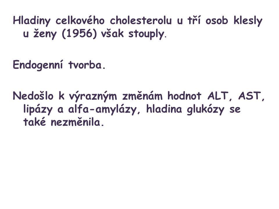Hladiny celkového cholesterolu u tří osob klesly u ženy (1956) však stouply.