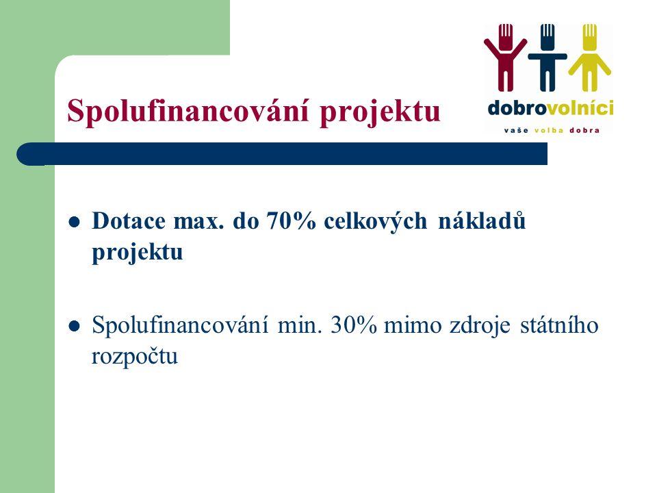 Spolufinancování projektu Dotace max. do 70% celkových nákladů projektu Spolufinancování min. 30% mimo zdroje státního rozpočtu