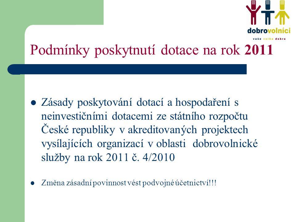 Podmínky poskytnutí dotace na rok 2011 Zásady poskytování dotací a hospodaření s neinvestičními dotacemi ze státního rozpočtu České republiky v akreditovaných projektech vysílajících organizací v oblasti dobrovolnické služby na rok 2011 č.