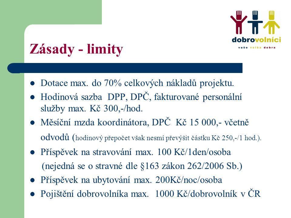Zásady - limity Dotace max. do 70% celkových nákladů projektu. Hodinová sazba DPP, DPČ, fakturované personální služby max. Kč 300,-/hod. Měsíční mzda
