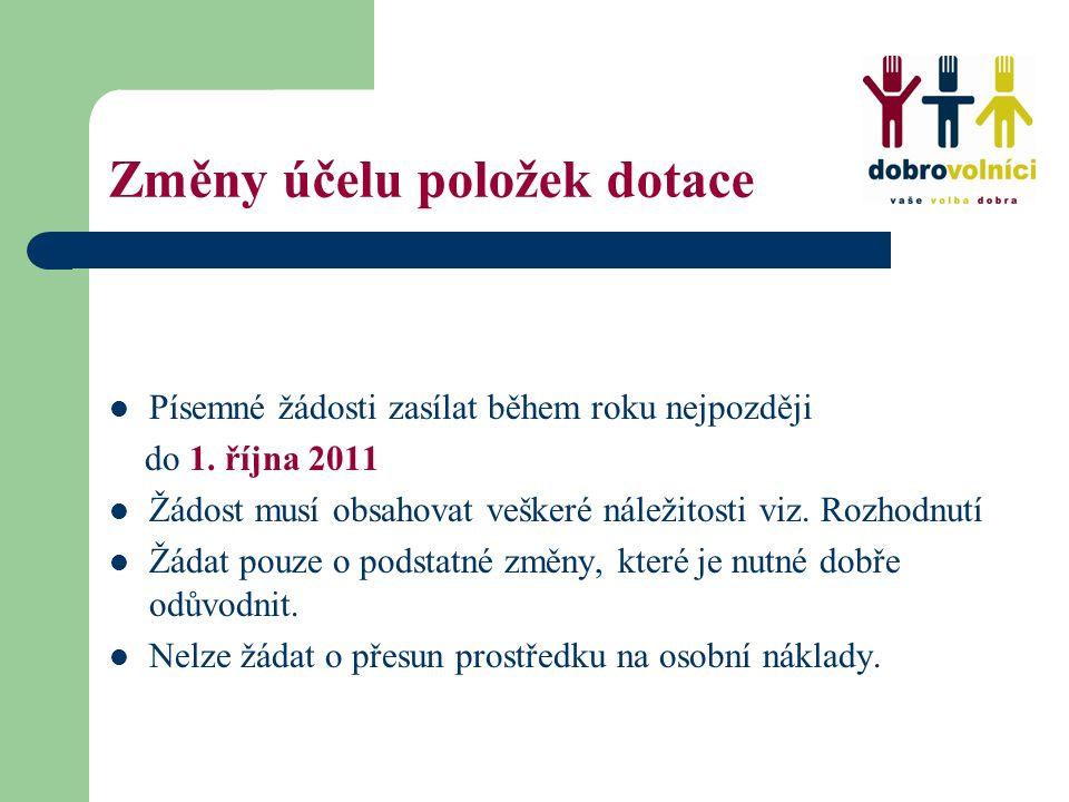 Změny účelu položek dotace Písemné žádosti zasílat během roku nejpozději do 1. října 2011 Žádost musí obsahovat veškeré náležitosti viz. Rozhodnutí Žá
