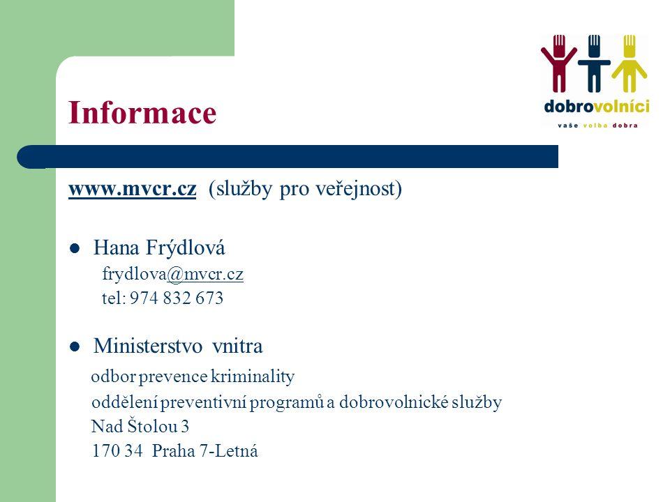 Informace www.mvcr.czwww.mvcr.cz (služby pro veřejnost) Hana Frýdlová frydlova@mvcr.cz@mvcr.cz tel: 974 832 673 Ministerstvo vnitra odbor prevence kri