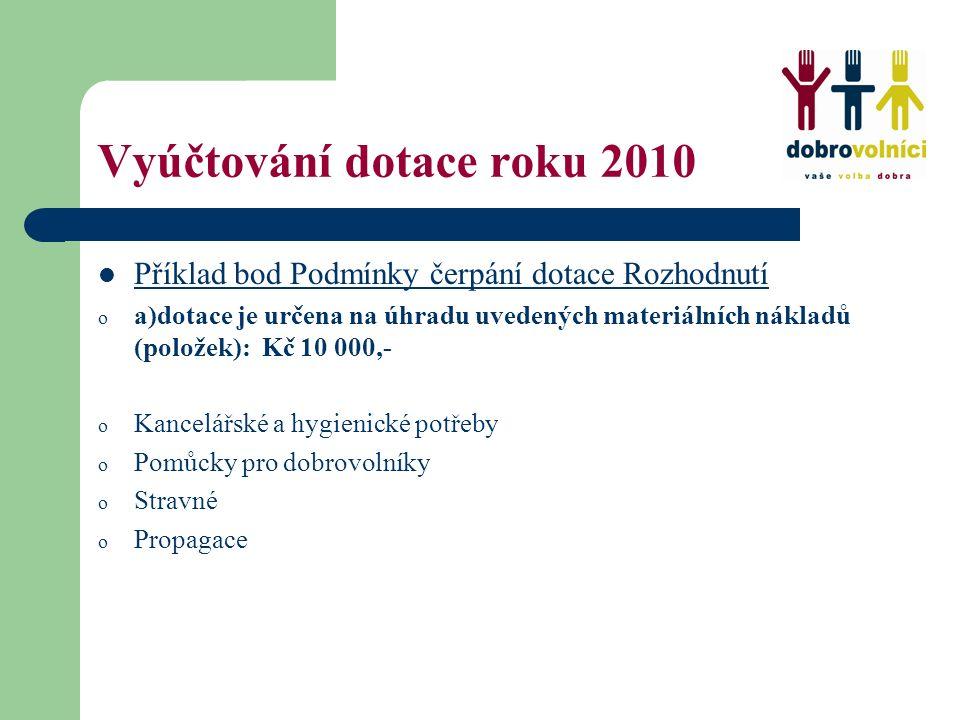 Vyúčtování dotace roku 2010 Příklad bod Podmínky čerpání dotace Rozhodnutí o a)dotace je určena na úhradu uvedených materiálních nákladů (položek): Kč 10 000,- o Kancelářské a hygienické potřeby o Pomůcky pro dobrovolníky o Stravné o Propagace