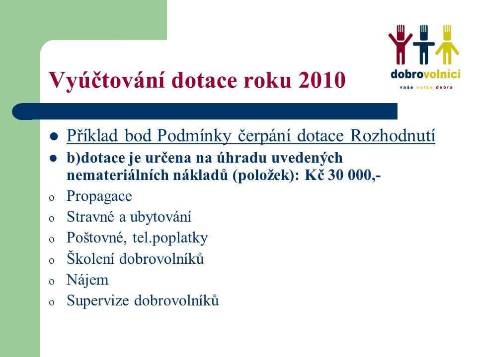 Vyúčtování dotace roku 2010 Příklad bod Podmínky čerpání dotace Rozhodnutí b)dotace je určena na úhradu uvedených nemateriálních nákladů (položek): Kč 30 000,- o Propagace o Stravné a ubytování o Poštovné, tel.poplatky o Školení dobrovolníků o Nájem o Supervize dobrovolníků