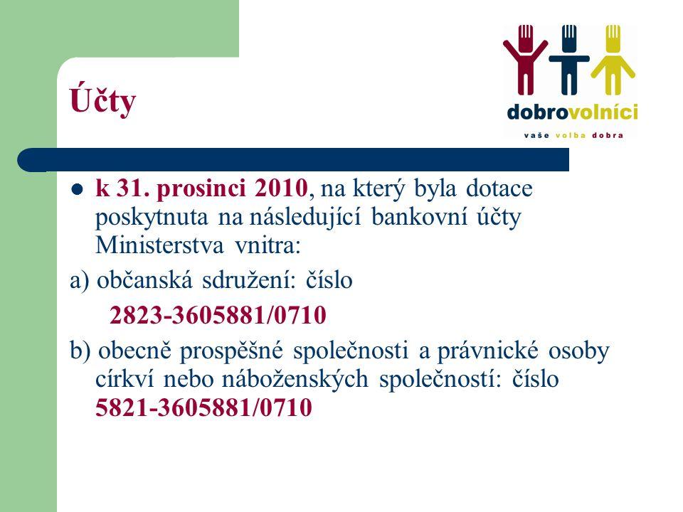 Účty k 31. prosinci 2010, na který byla dotace poskytnuta na následující bankovní účty Ministerstva vnitra: a) občanská sdružení: číslo 2823-3605881/0