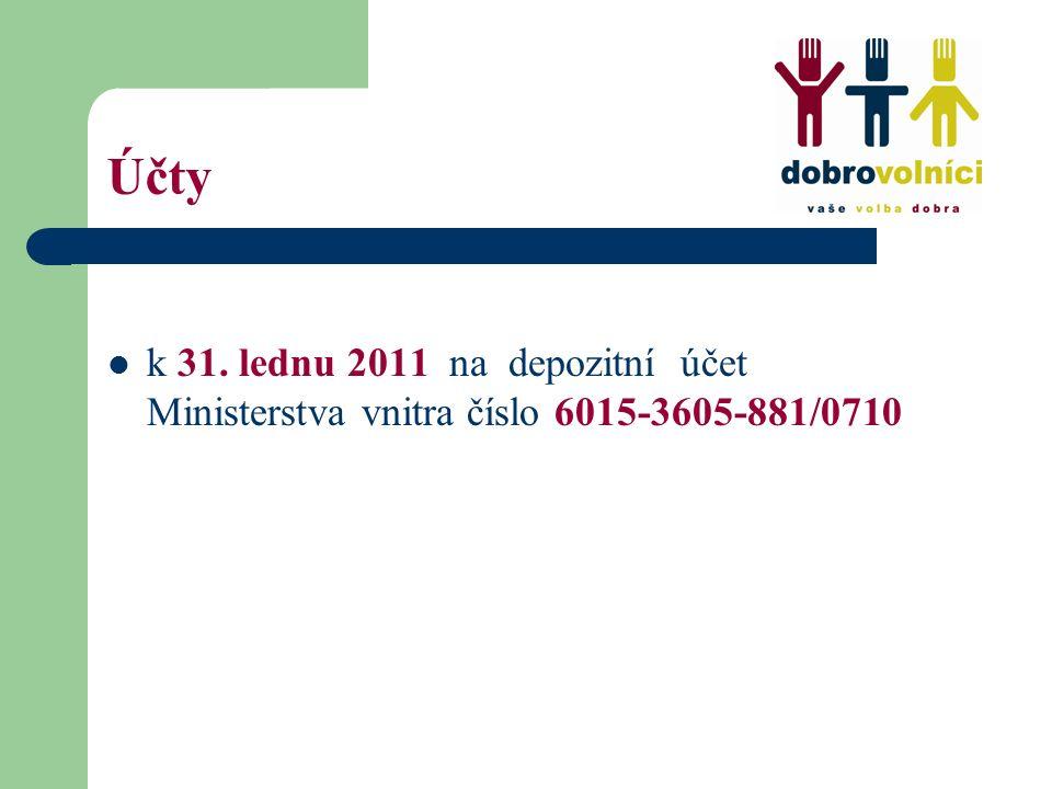 Účty k 31. lednu 2011 na depozitní účet Ministerstva vnitra číslo 6015-3605-881/0710