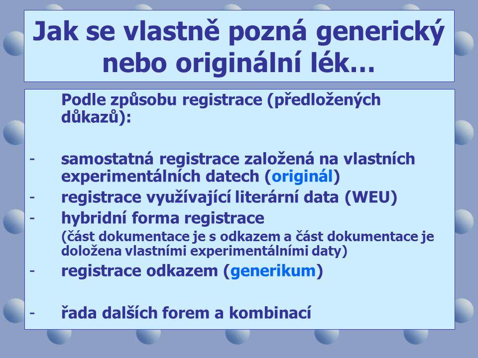 Podle způsobu registrace (předložených důkazů): -samostatná registrace založená na vlastních experimentálních datech (originál) -registrace využívající literární data (WEU) -hybridní forma registrace (část dokumentace je s odkazem a část dokumentace je doložena vlastními experimentálními daty) -registrace odkazem (generikum) -řada dalších forem a kombinací Jak se vlastně pozná generický nebo originální lék…