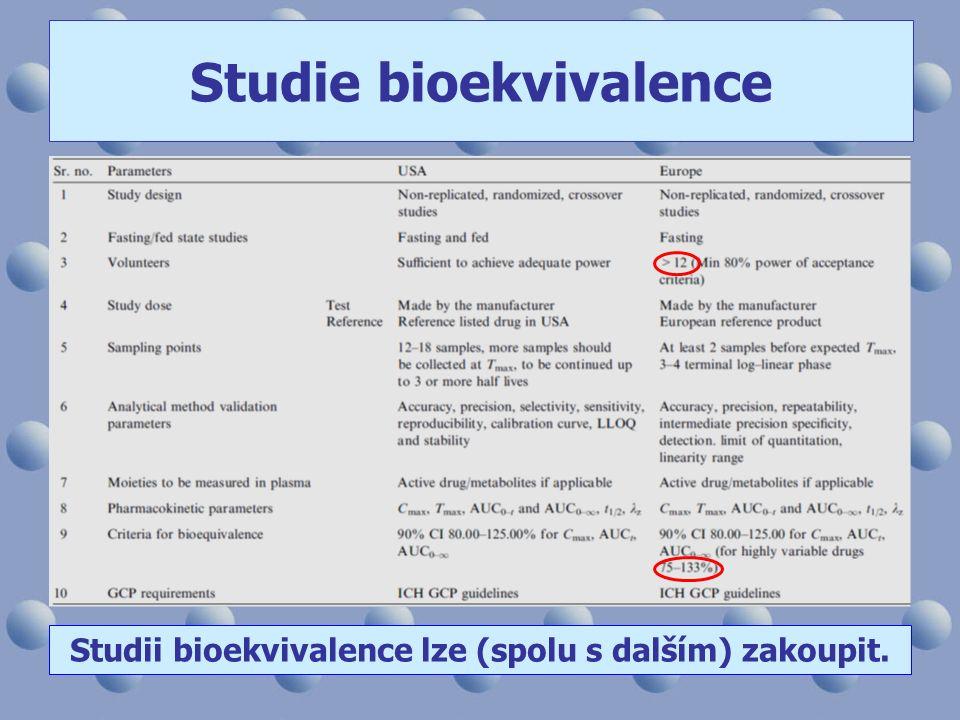 Studie bioekvivalence Studii bioekvivalence lze (spolu s dalším) zakoupit.