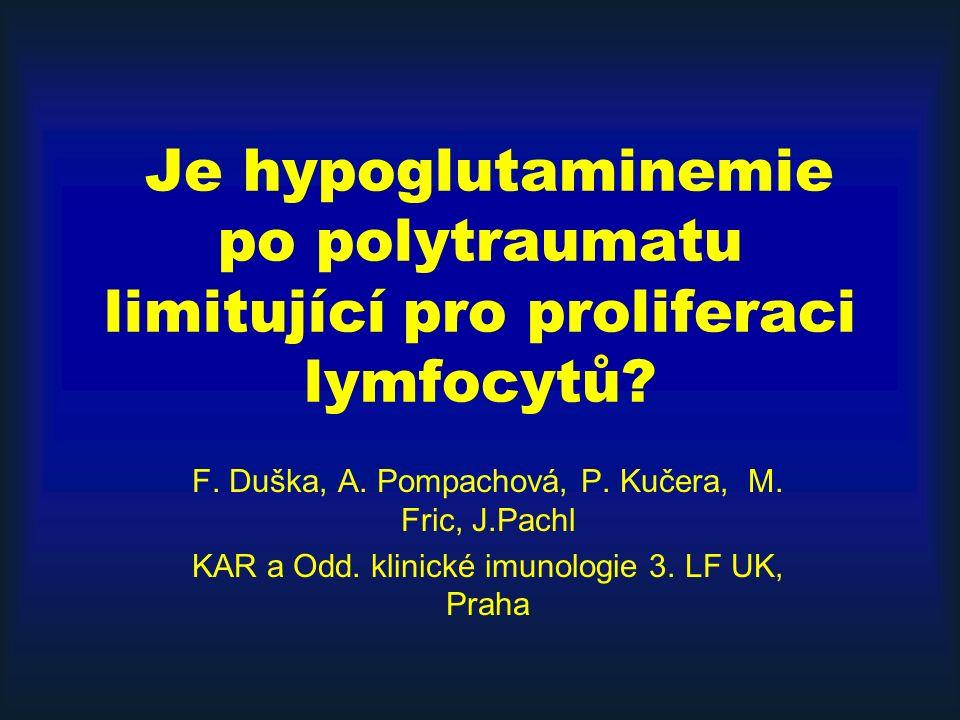 Je hypoglutaminemie po polytraumatu limitující pro proliferaci lymfocytů? F. Duška, A. Pompachová, P. Kučera, M. Fric, J.Pachl KAR a Odd. klinické imu