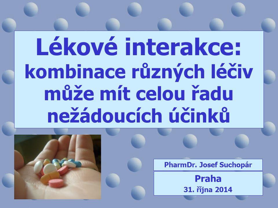 Lékové interakce: kombinace různých léčiv může mít celou řadu nežádoucích účinků PharmDr. Josef Suchopár Praha 31. října 2014