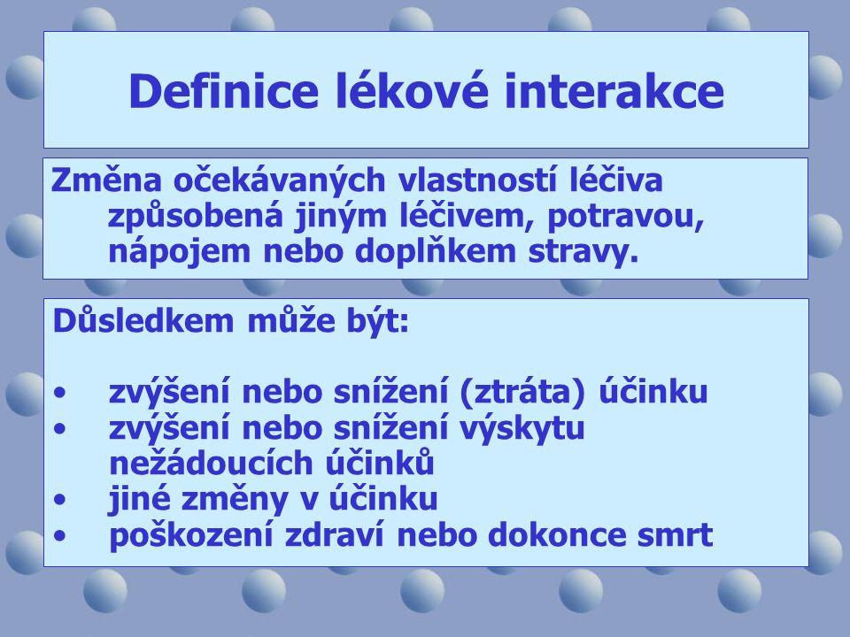 Definice lékové interakce Změna očekávaných vlastností léčiva způsobená jiným léčivem, potravou, nápojem nebo doplňkem stravy. Důsledkem může být: zvý