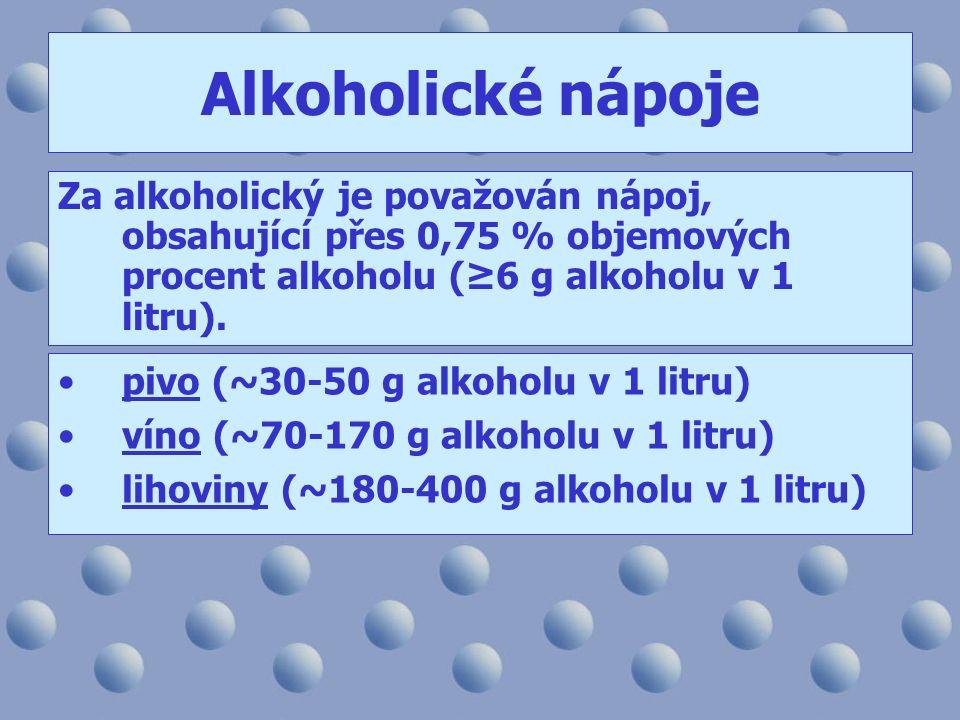 Alkoholické nápoje Za alkoholický je považován nápoj, obsahující přes 0,75 % objemových procent alkoholu (≥6 g alkoholu v 1 litru). pivo (~30-50 g alk