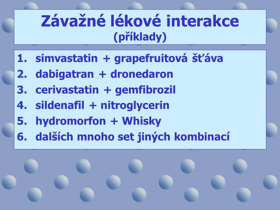 Závažné lékové interakce (příklady) 1.simvastatin + grapefruitová šťáva 2.dabigatran + dronedaron 3.cerivastatin + gemfibrozil 4.sildenafil + nitroglycerin 5.hydromorfon + Whisky 6.dalších mnoho set jiných kombinací