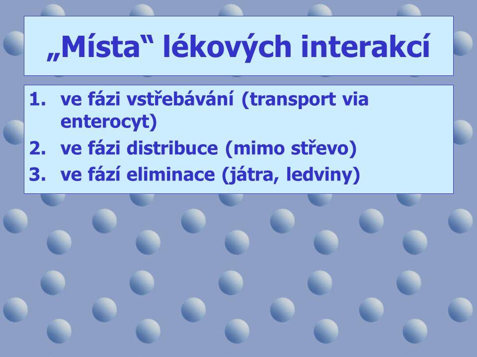 """""""Místa"""" lékových interakcí 1.ve fázi vstřebávání (transport via enterocyt) 2.ve fázi distribuce (mimo střevo) 3.ve fází eliminace (játra, ledviny)"""
