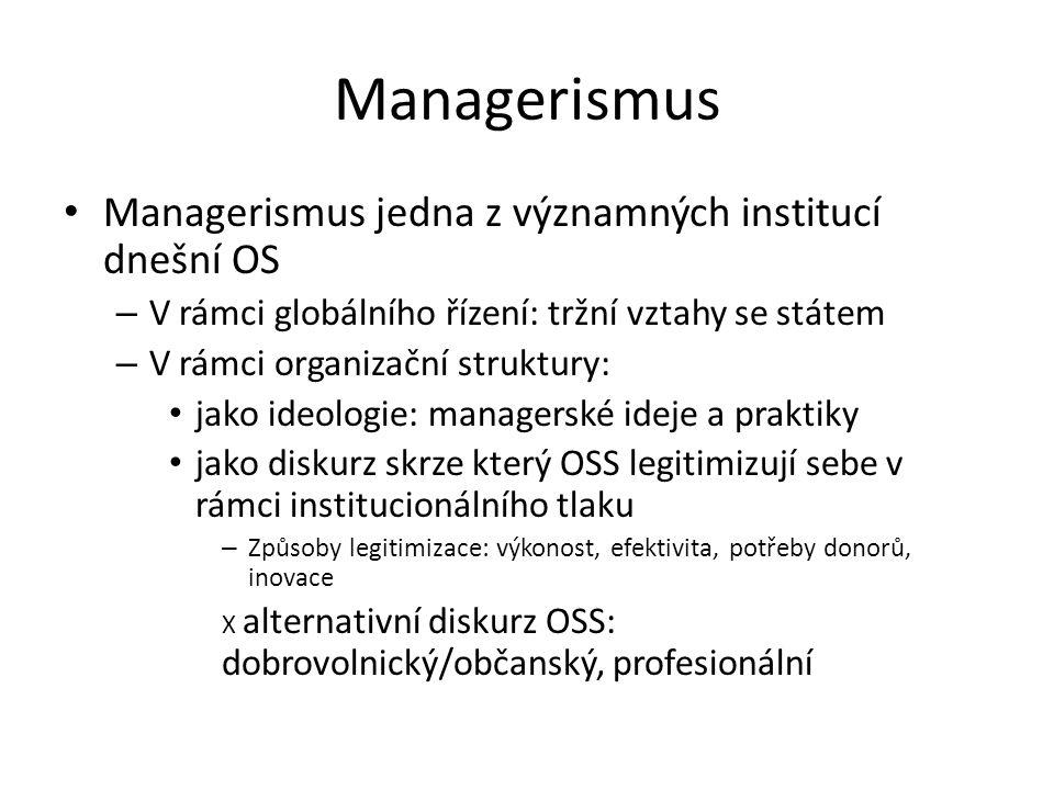 Managerismus Managerismus jedna z významných institucí dnešní OS – V rámci globálního řízení: tržní vztahy se státem – V rámci organizační struktury: