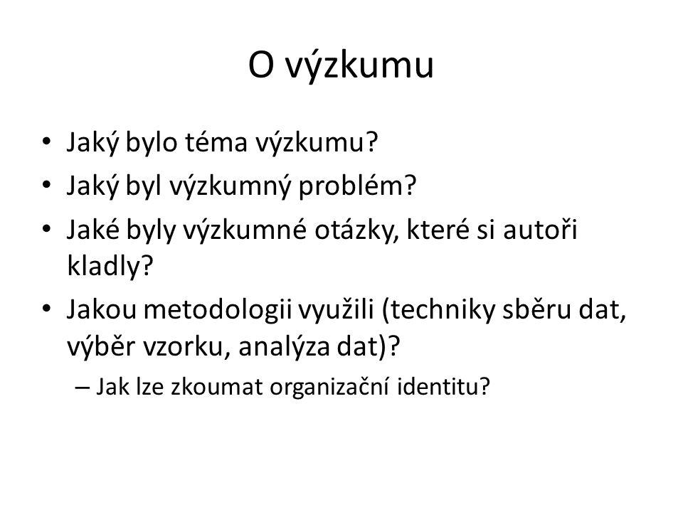 Otázky k textu Co rozumíme organizační identitou.